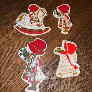 HOLLY HOBBIE LOT OF 4 WOODEN CHRISTMAS ORNAMENTS